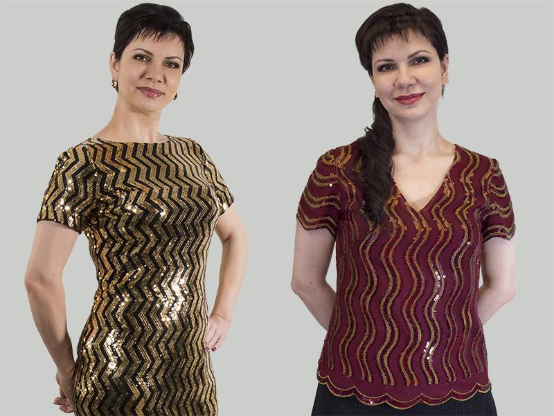 Платье и блуза из ткани с пайетками