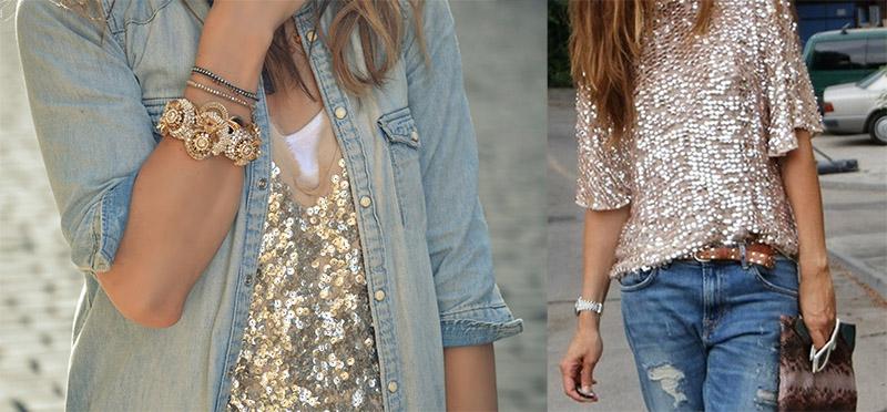 Блуза из ткани с пайетками