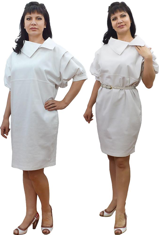 Платье без выкройки из джинсы белого цвета